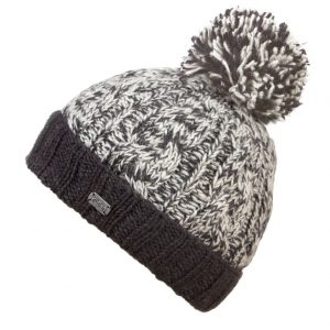 Charcoal Cable Turn Up SP Bobble Hat