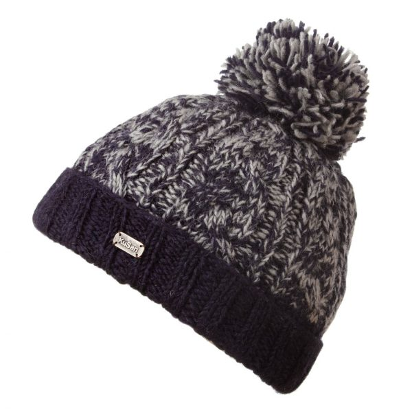 Navy Cable Turn Up SP Bobble Hat