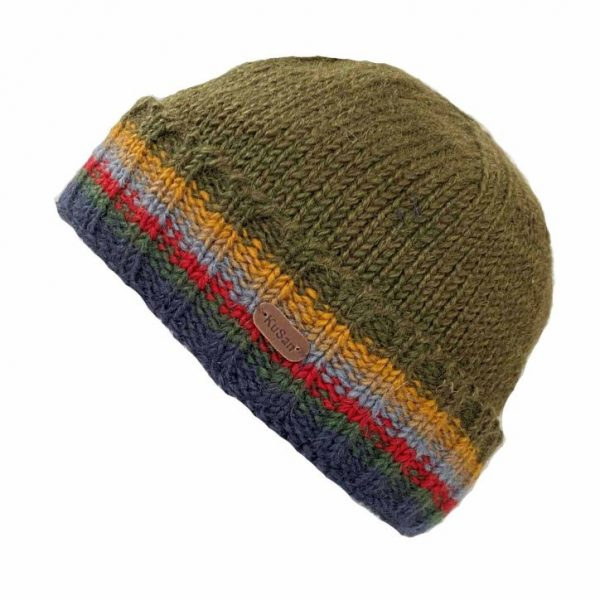 Khaki Turn Up Pull On Hat