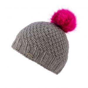 Grey Moss Yarn with Fake Fur Pom Bobble Hat