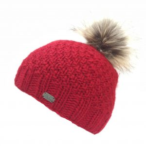 Red Moss Yarn with Fake Fur Pom Bobble Hat