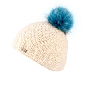 White Moss Yarn with Fake Fur Pom Bobble Hat