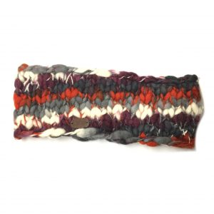 Orange Berry Uneven Yarn Headband with Fleece Lining