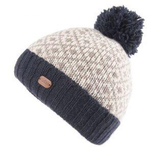 Navy Fleur de Lis Bobble Hat