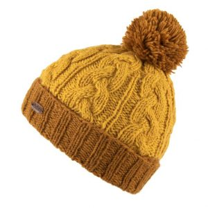 Caramel Cable Turn Up Bobble Hat