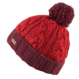 Red Cable Turn Up Bobble Hat