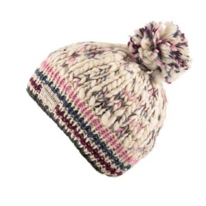 White Pink Uneven Yarn Bobble Hat