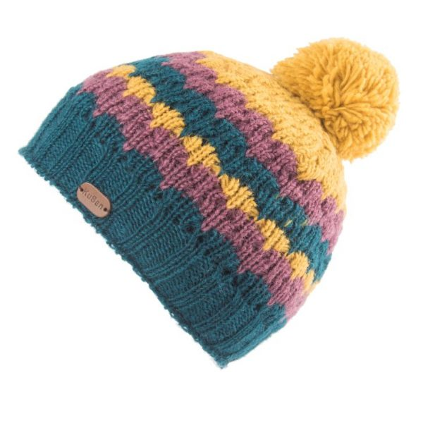 Teal Bobble Hat Shell Knit