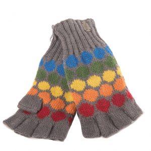 Grey Fine Gauge Half Finger Gloves
