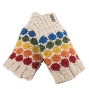 White Fine Gauge Half Finger Gloves