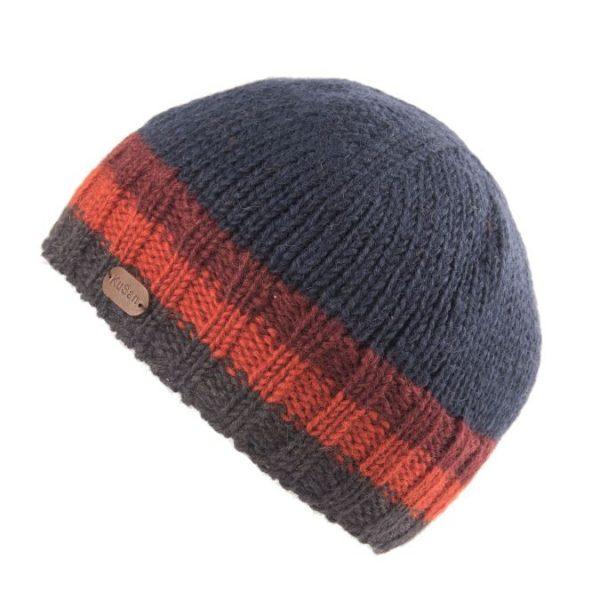 Navy Orange Hi Rib Pull On Hat