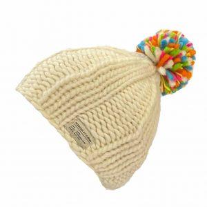 White Moss Yarn Multi Bobble Hat