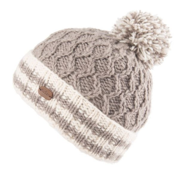 Grey Cable Turn Up Bobble Hat