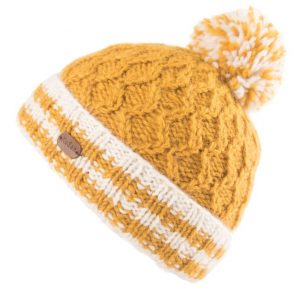 Yellow Cable Turn Up Bobble Hat