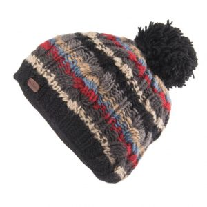 Black Cable Stripe Bobble Hat