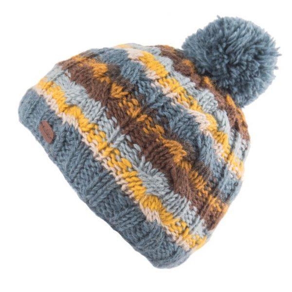 Denim Cable Stripe Bobble Hat