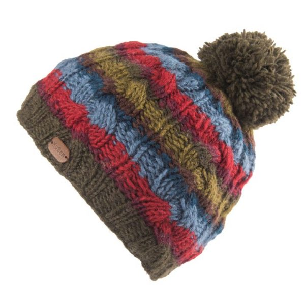 Khaki Cable Stripe Bobble Hat