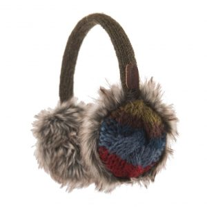 Khaki Cable Stripe Earmuffs