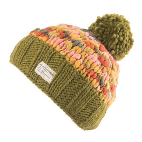 Khaki Uneven Yarn Bobble Hat