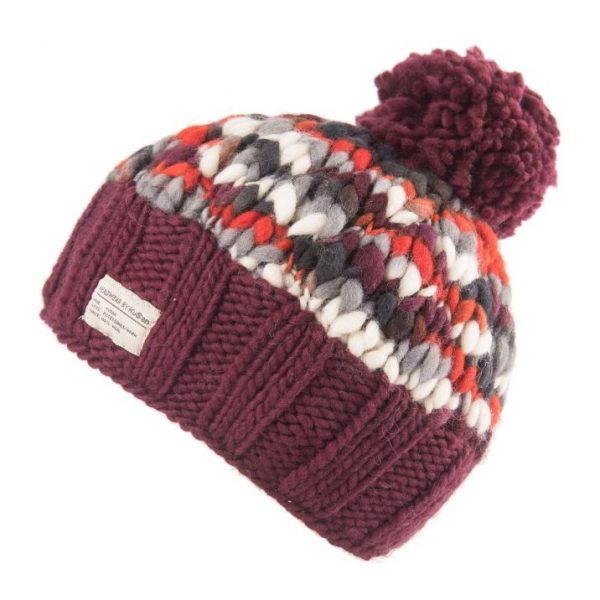 Plum Uneven Yarn Bobble Hat