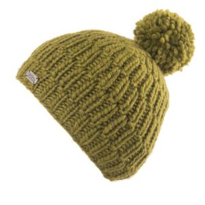 Khaki Moss Yarn Rib Cable Bobble Hat