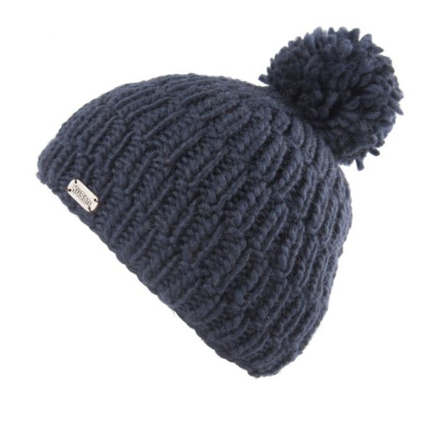 Navy Moss Yarn Rib Cable Bobble Hat