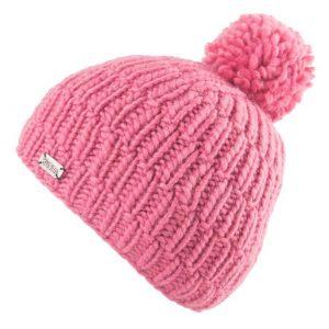 Pink Moss Yarn Rib Cable Bobble Hat