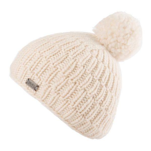 White Moss Yarn Rib Cable Bobble Hat