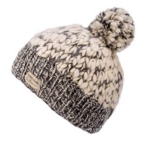 Grey Uneven Yarn No Turn up with Bobble Hat