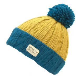 Blue Yellow Moss Yarn Turn Up with Bobble Hat