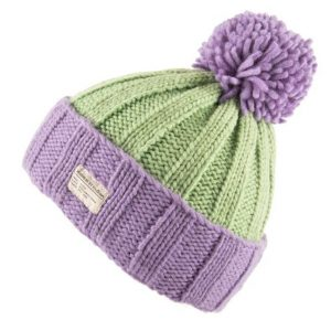 Lilac Mint Green Moss Yarn Turn Up with Bobble Hat