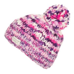 Purple Pink Uneven Yarn No Turn up with Bobble Hat