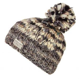 Black White Uneven Yarn SP Bobble Hat