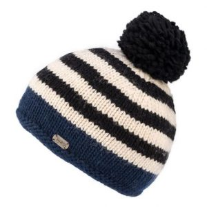 Navy Stripe Moss Yarn Bobble Hat