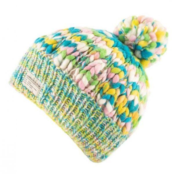 Green Yellow Uneven Yarn Bobble Hat