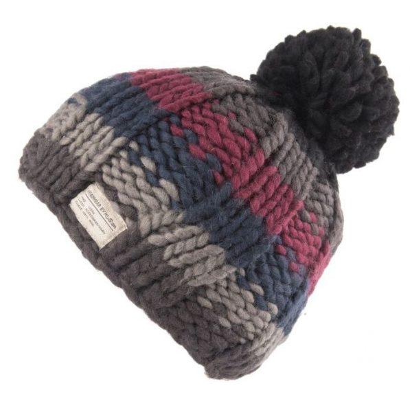 Black Rainbow Moss Yarn Bobble Hat