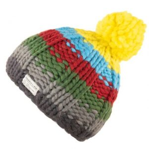 Yellow Rainbow Moss Yarn Bobble Hat